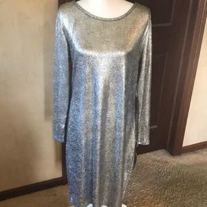 LulaRoe Debbie Silver Long Sleeve Dress - XL